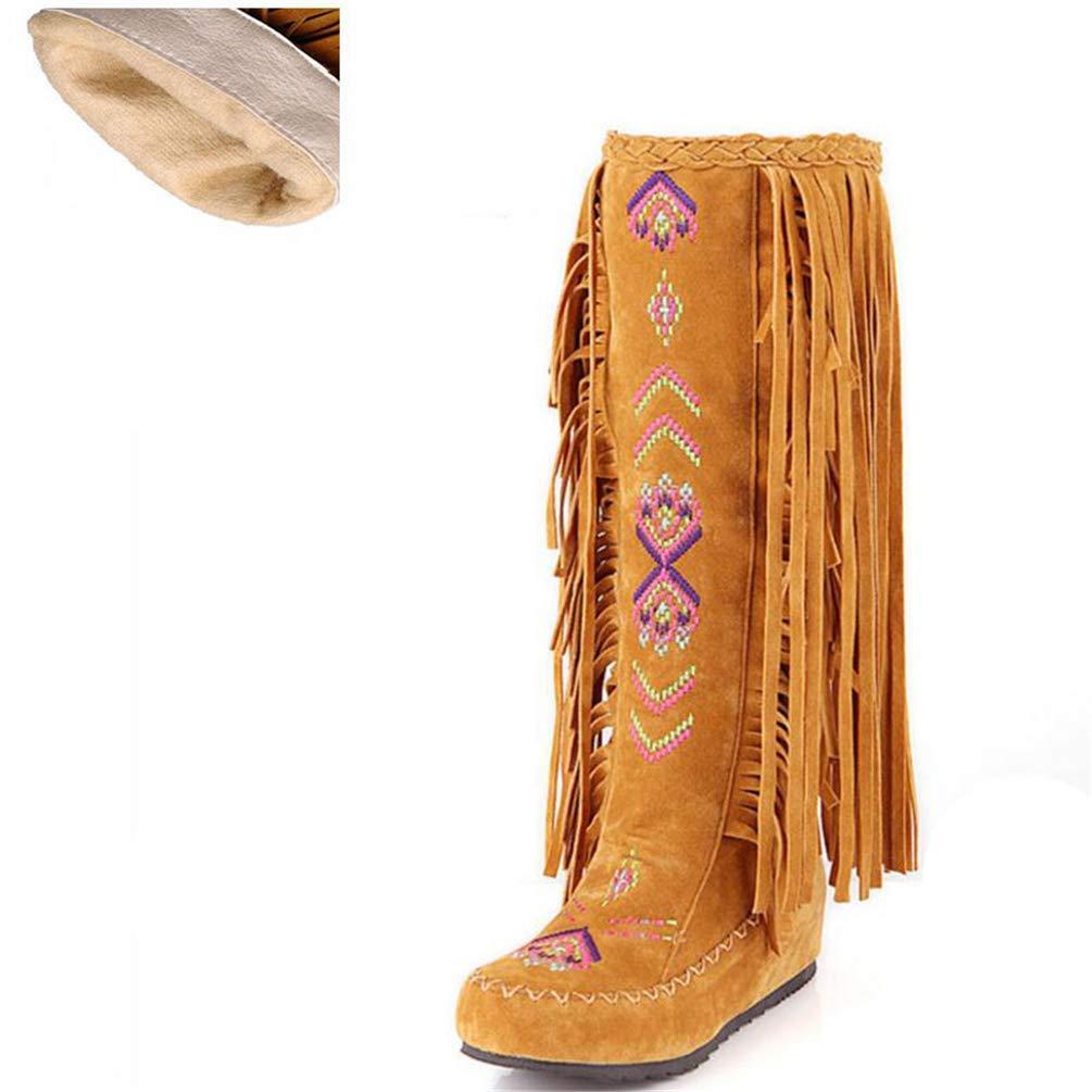 HhGold Frau Stiefel Mode Stil Flock Leder Frauen Flache Absätze Lange Schuhe Weibliche Quaste Kniehohe Stiefel (Farbe   Gelb Short Velvet Größe   6.5=40 EU)