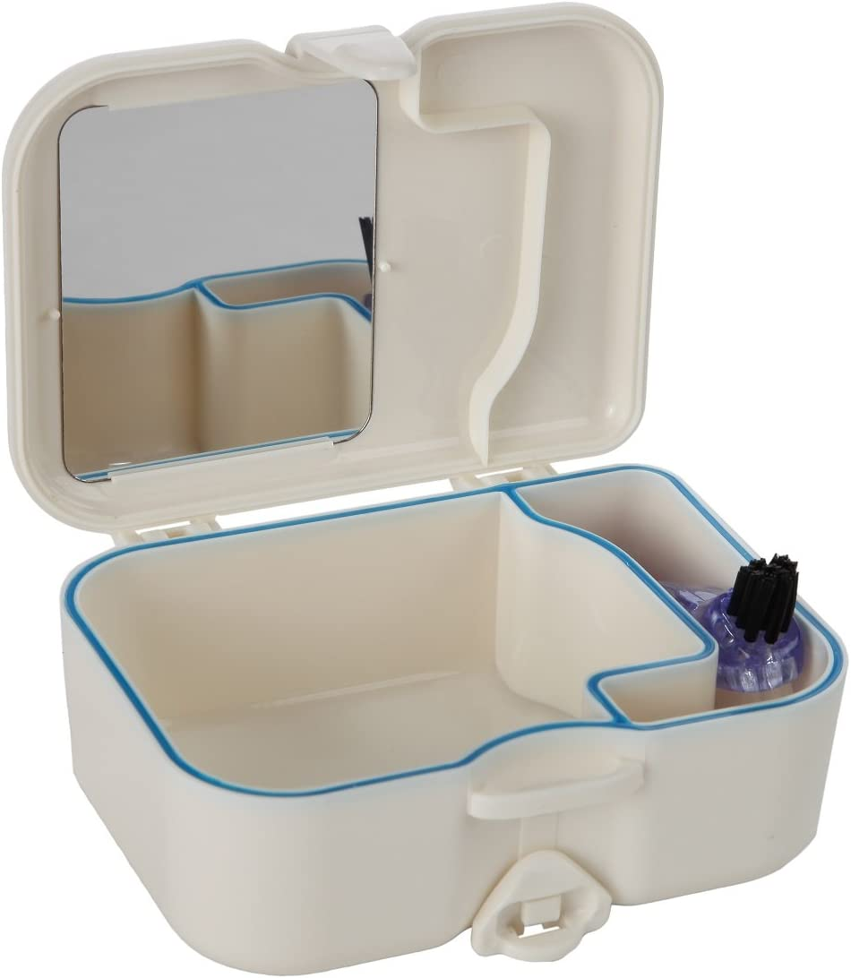Denture Travel Case with Built in Mirror and Brush – Sturdy, Compact and Leak-Proof Travel Case Ideal for Dental Appliances and Mouth Guards – by Home-X