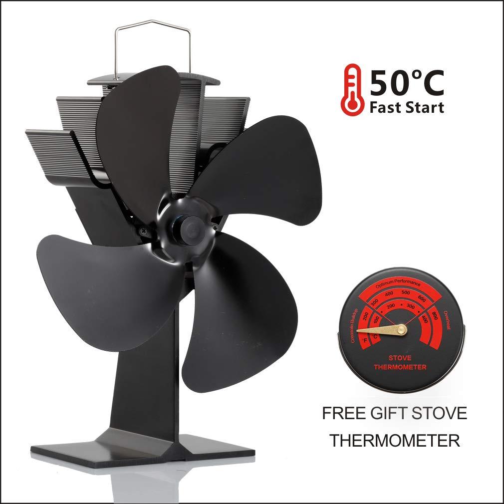 CRSURE Wood Stove Fan and Free Stove Thermometer,Blows Heat Up to 300 f/m- No Electronic Required -+ 50°c Start Silent 4-Blade Heat Powered Stove Fan for Log Burner (SF-444) by CRSURE