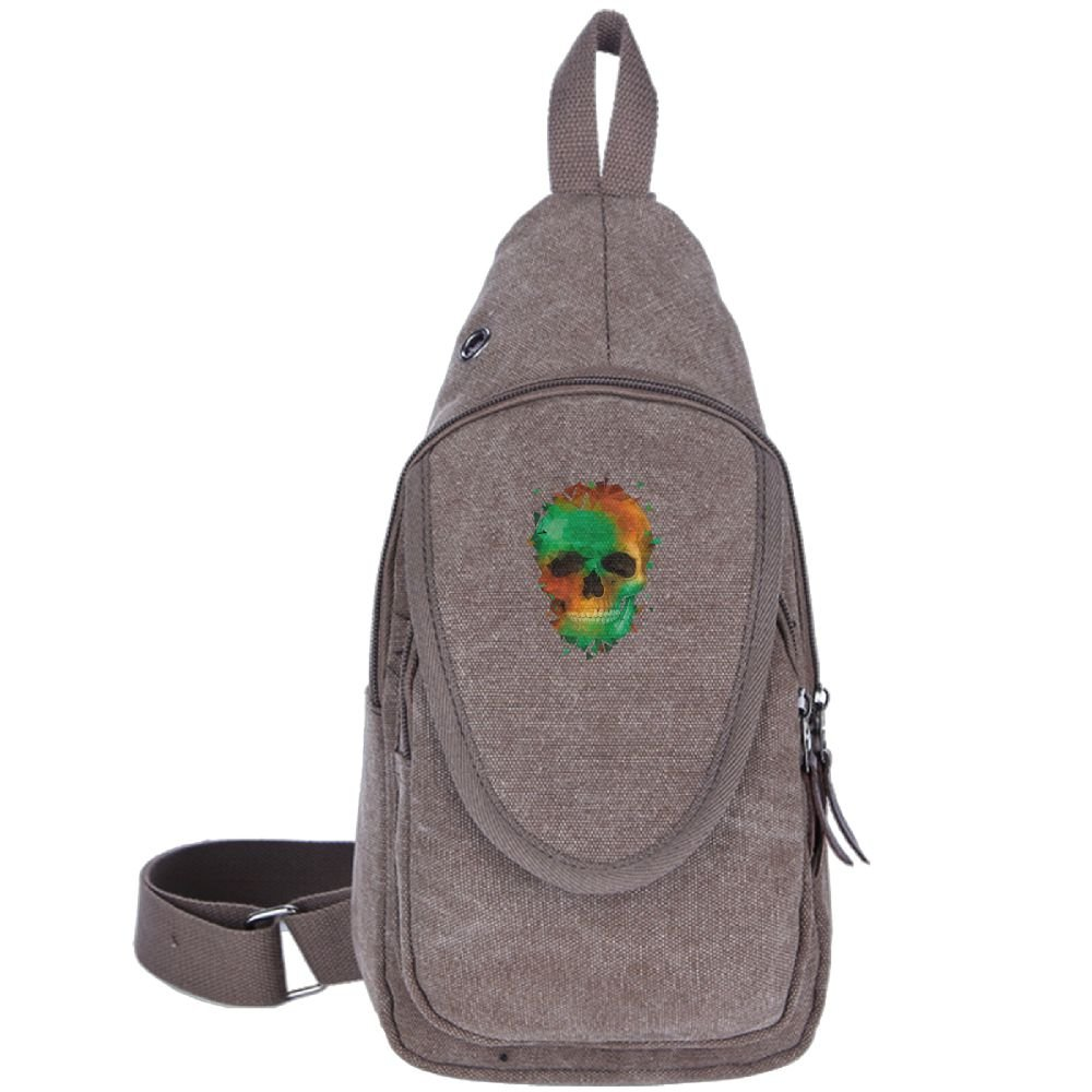 Colorful Skull Canvas Sling Bag Travel Shoulder Backpack Chest Crossbody Daypack free shipping
