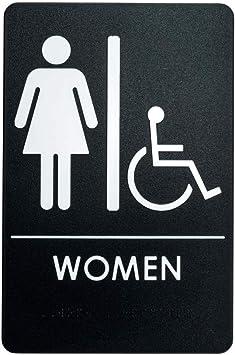 Women/'s Handicap Restroom Sign ADA-Compliant Bathroom Door Sign for Office B...