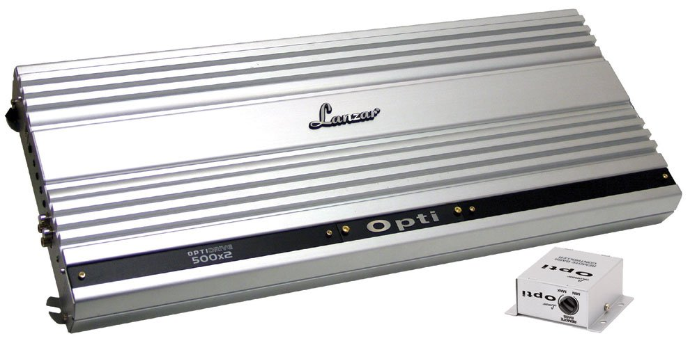 Lanzar Amplifier Car Audio, 2 Channel, 2,000 Watt, 2 Ohm, Bridgeable 4 Ohms, MOSFET, RCA Input, Low Pass Filter, High Pass Filter, Bass Boost, Amplifier for Car Speakers, Car Electronics (OPTI500X2)
