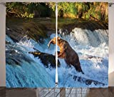 Ambesonne Waterfall Decor Curtains, Image of Large Bear by a Rock in Alaska Waterfall Wildlife in Earth Art Print, Window Drapes 2 Panel Set for Living Room Bedroom, 108 W X 84 L Inches, Multi For Sale