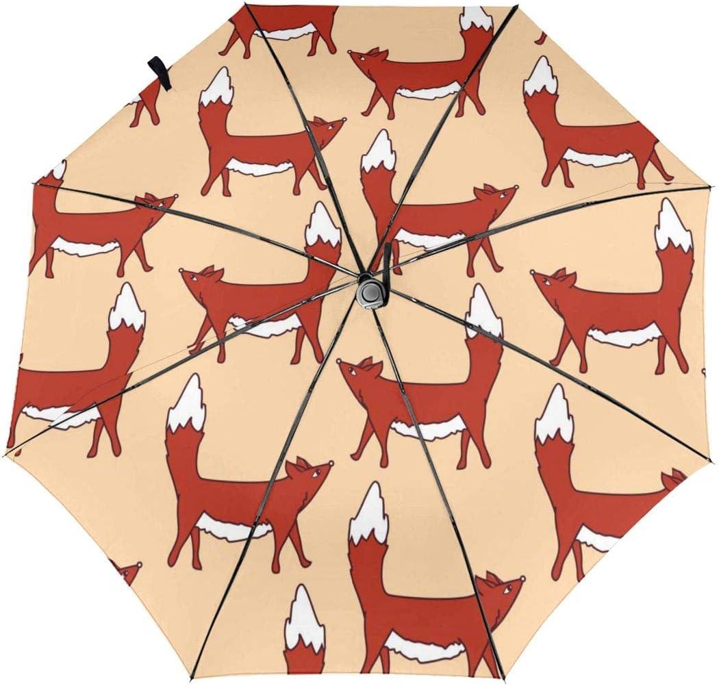 HanJD-JS Cute Foxes Automatic Folding Umbrella Tri-fold Fashion Print Clear Umbrella