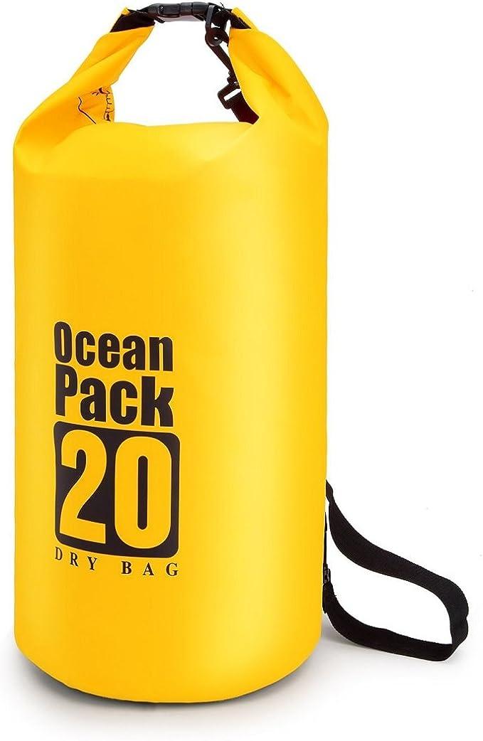 5L 10L 20L flotante impermeable bolsas de compresión almacenamiento bolsas ligero océano Pack para viajes, Rafting Boating Kayak canoa Camping snowboard, color amarillo, tamaño 20 L: Amazon.es: Deportes y aire libre