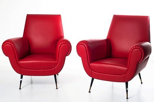Par de 50 años sillones made in Italy rojo de cuero con ...