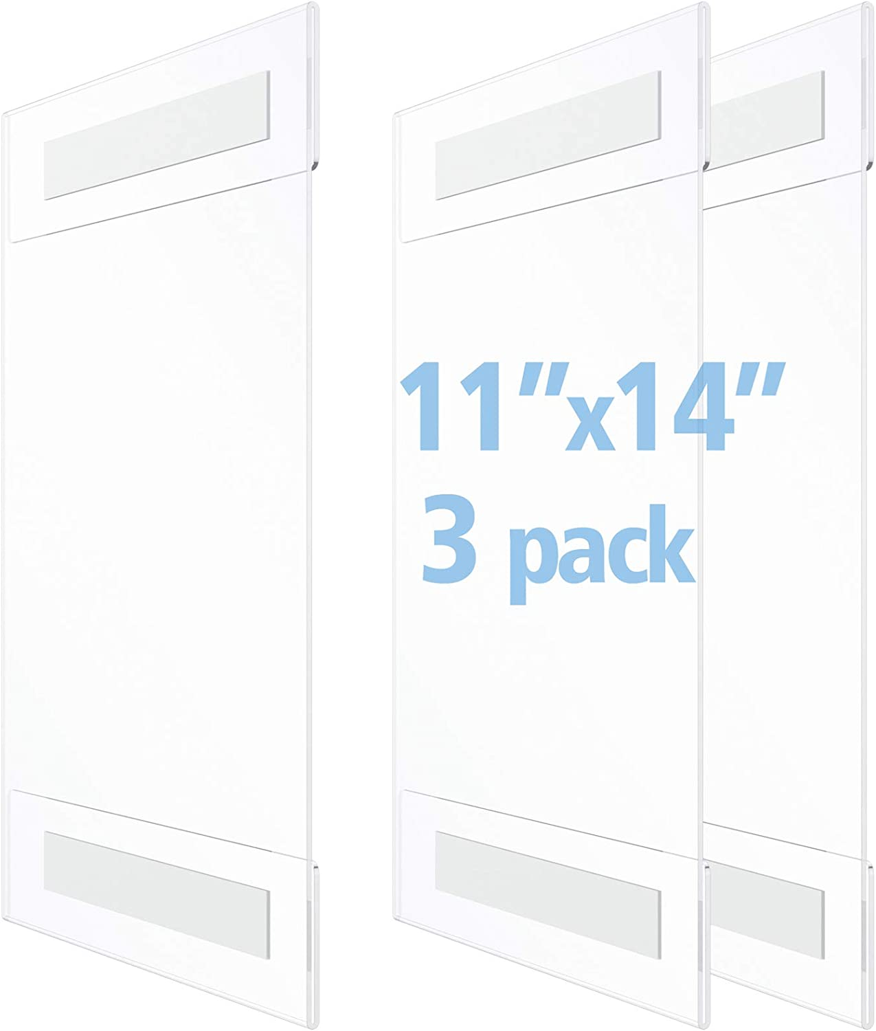 OFFICE MAJOR Acrylic Sign Holder 11x14 - Wall Mount Sign Holder with 3M Tape Adhesive, Office Door Sign, Plastic Frame Wall Sign Holder, Clear Wall Mount Frame (Box of 3)