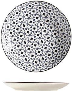 HTLLT 6/7 inch Pottery Bone China Hand-Painted Ceramic Dinner Plate Dessert Plate Dinner Porcelain,Dish Blue Network,7 Inches