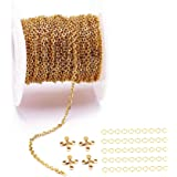 Gold, Silver BOWINR Jewelry Making Chains 33 Feet Stainless Steel Chain Necklace Small Chain With 60 Lobster Clasps And 60 Jump Rings For Necklace Making