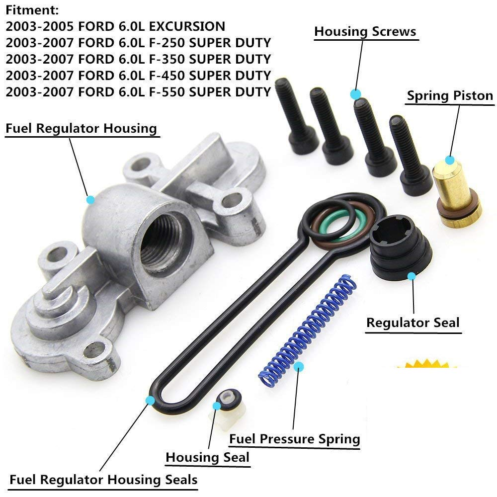 6.0 Blue Spring upgrade Kit Powerstroke Fuel Regulator Kit for 2003-2007 Ford F250 F350 F450 F550 E-350 3C3Z9T517AG