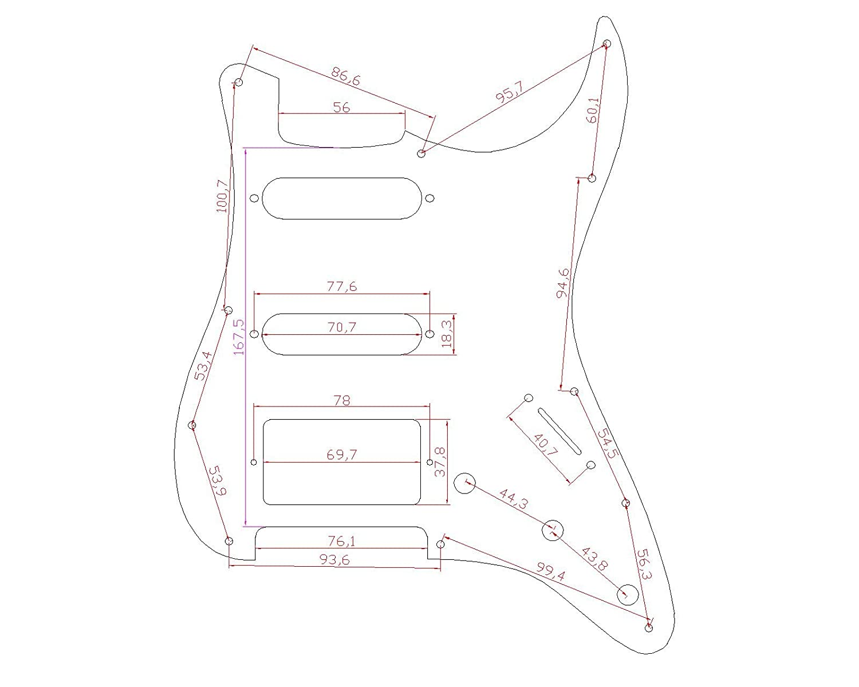 1 pli noir muet US//Mexique Made Fender Musiclily 11 trous HSS Pickguard pour Guitare /électrique style moderne Stratocaster Standard