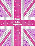 Happy 11th Birthday: Notebook, Journal, Diary, 105 Lined Pages, Pink Union Jack Themed Birthday Gifts for 11 Year Old Girls or Boys, Children, Kids, ... or Son, Best Friend, Book Size 8 1/2' x 11'