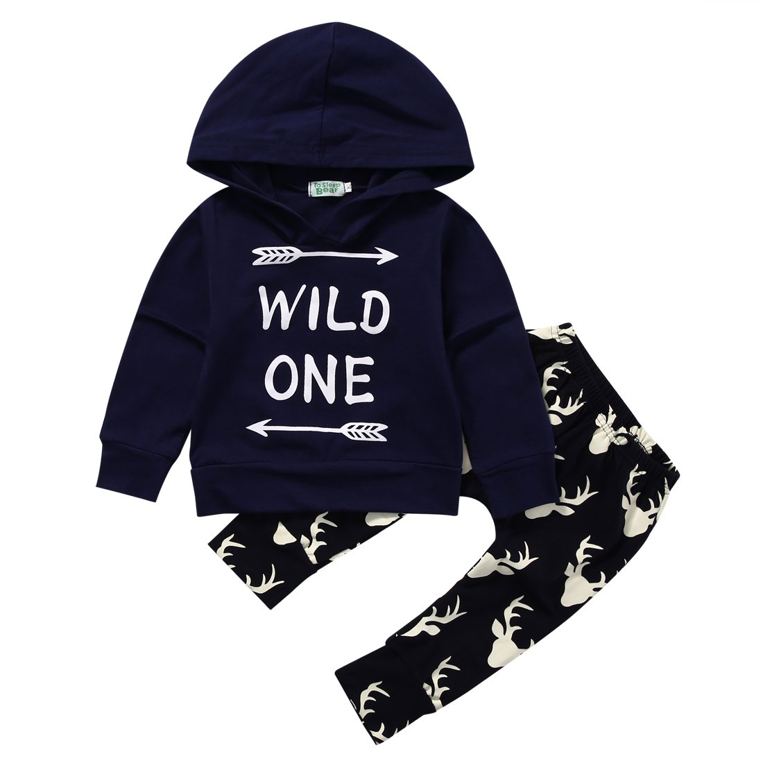 Canis Baby Boys Long Sleeve Hoodie Wild One Sweatshirt Top and Deer Pants Outfit Set