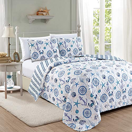 Great Bay Home Azure Coastal Collection 3 Piece Quilt Set with Shams. Reversible Beach Theme Bedspread Coverlet. Machine Washable. (King)