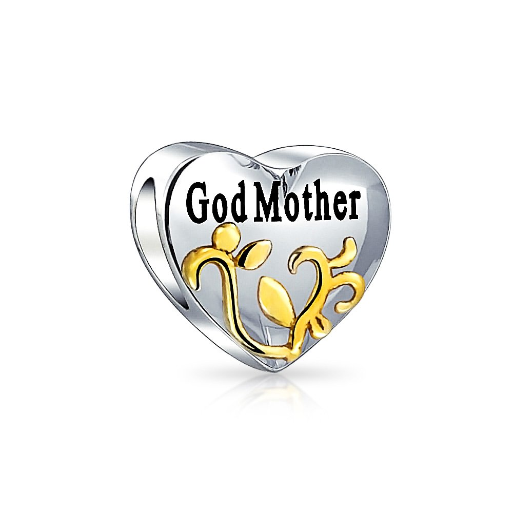 Bling Jewelry Double Sided Heart Shaped Gold Plated Foliage Godmother Message Bead Charm .925 Sterling Silver PBX-HG-229-SHINE