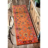 nuLOOM 200SPRE21A-2608 Handmade Overdyed Traditional Orange Wool Runner Rug (2-Feet 6 X 8-Feet)