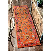 nuLOOM 200SPRE21A-2608 Handmade Overdyed Traditional Orange Wool Runner Rug (2-Feet 6 X 8-Feet)