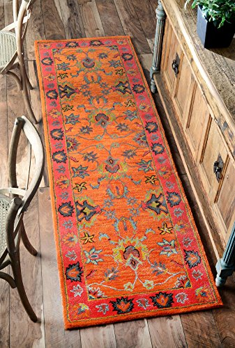 "nuLOOM Montesque Hand Tufted Wool Runner Rug, 2' 6"" x 10', Orange - Style: Traditional Color : Orange Actual Size: 2' 6"" x 10' - runner-rugs, entryway-furniture-decor, entryway-laundry-room - 61w qPH5x8L -"