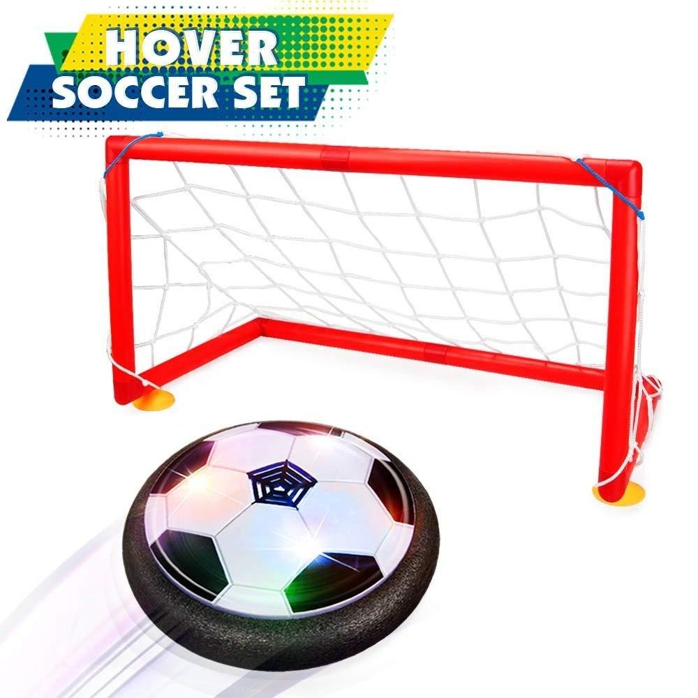 Soccer Set withゲート、フローティングサッカー玩具、ホッケーFootball 2イン1フローティング、FoamバンパーとカラフルなLEDライトHover Ball Cirsum numasanltd B078WXBN8N