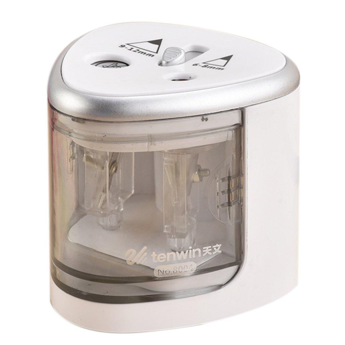 Foxom - temperamatite elettrico con fori grandi e piccoli, 6 mm - 12 mm, per casa, scuola e ufficio 7.5*7.5*7cm Silver
