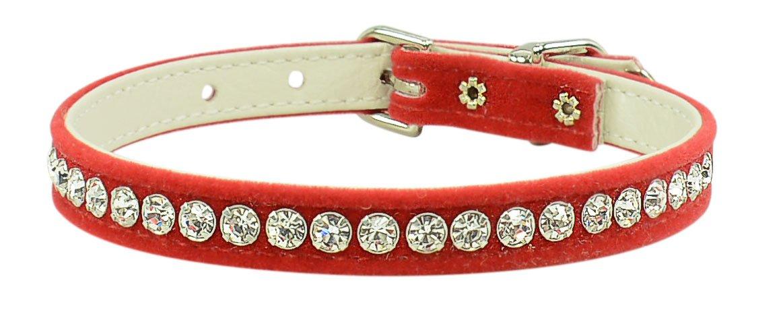 Evans Collars 3 8  Jeweled Collar, Size 14, Velvet, Red