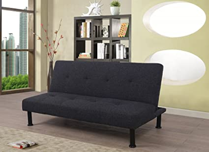 Beverly Fine Furniture F2108 Futon Convertible Sofa Bed, Charcoal Grey