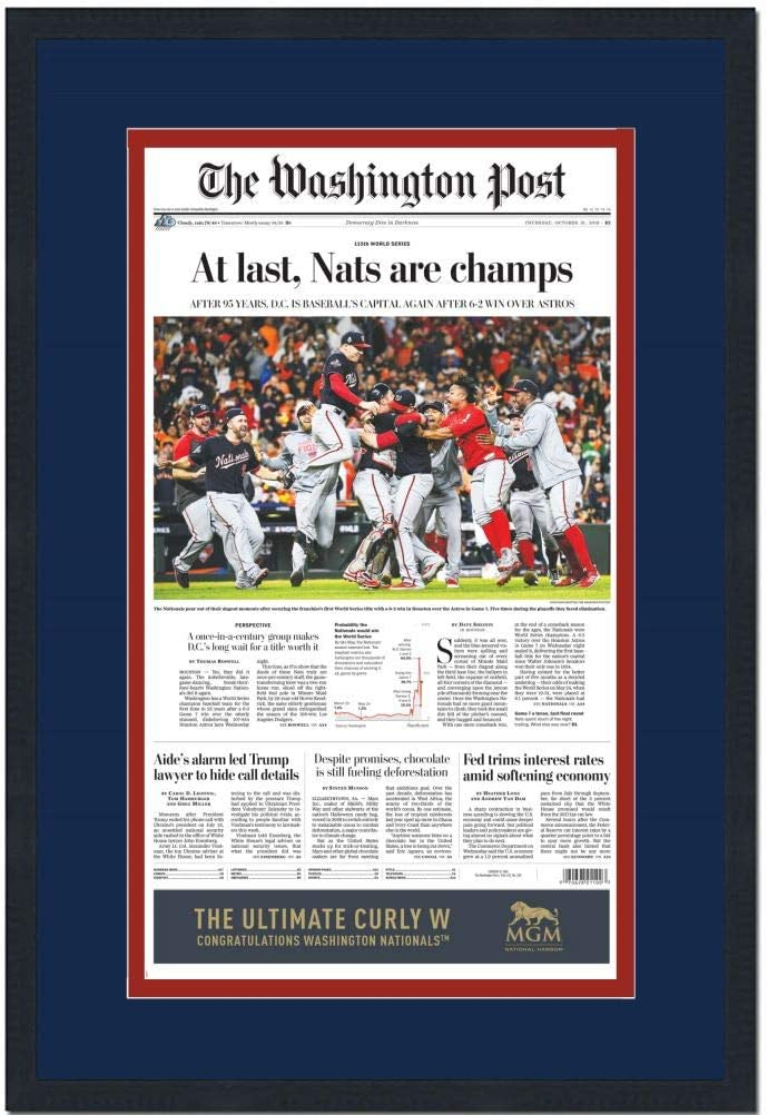 B07ZT6QSSP Framed Washington Post At Last Nationals 2019 World Series Champions 17x27 Baseball Newspaper Cover Photo Professionally Matted 61w-sdgs2B2L.SL1200_