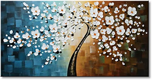 Winpeak Art Handmade Plum Tree Blossom Modern Canvas Flowers Artwork Contemporary Abstract Floral Paintings on Canvas Wall Art for Home Decorations Wall Decor Stretched and Ready to Hang 48 W x 24 H