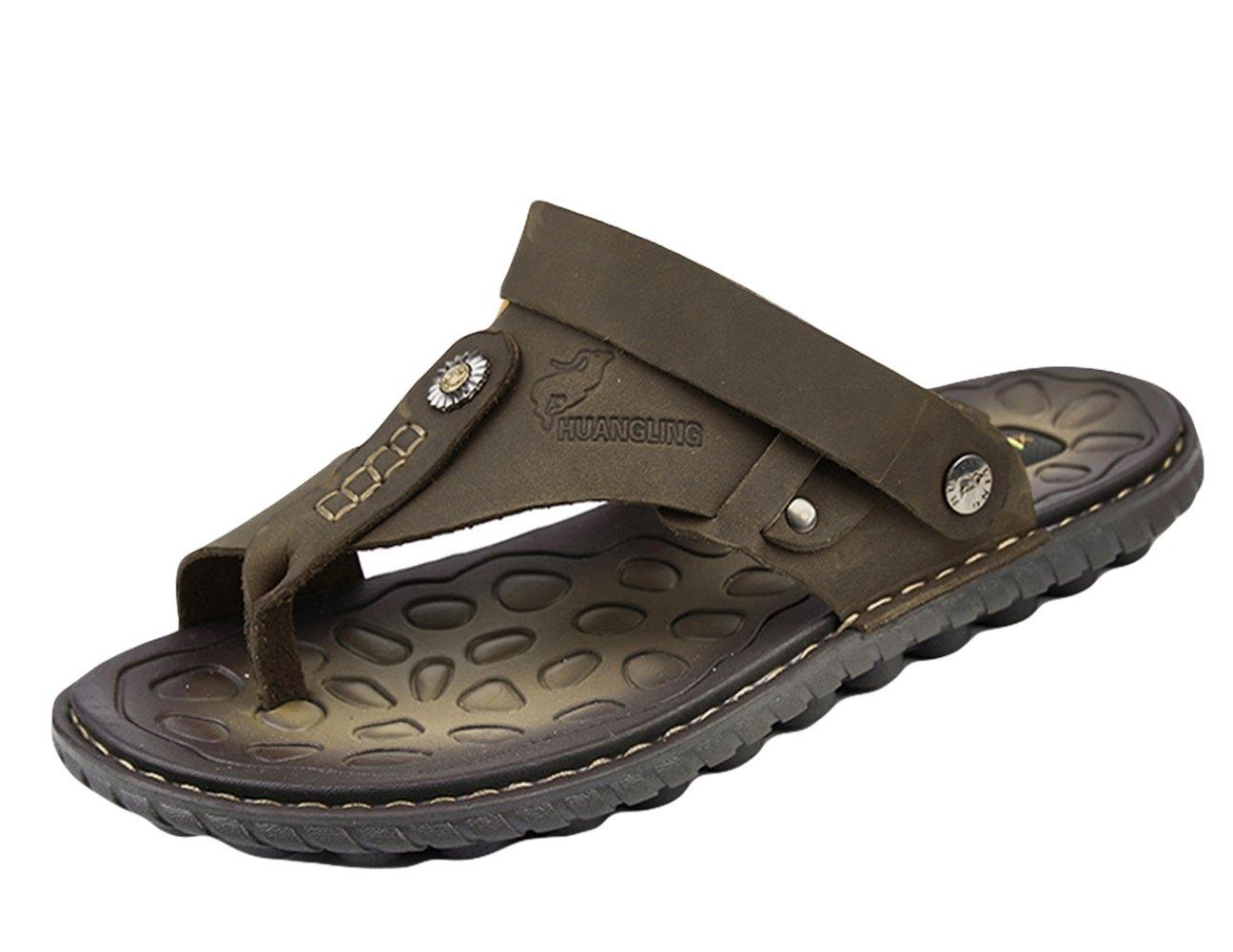 Insun Chanclas para Hombre Cuero Sandalias de Playa 38 EU|Marrón 1