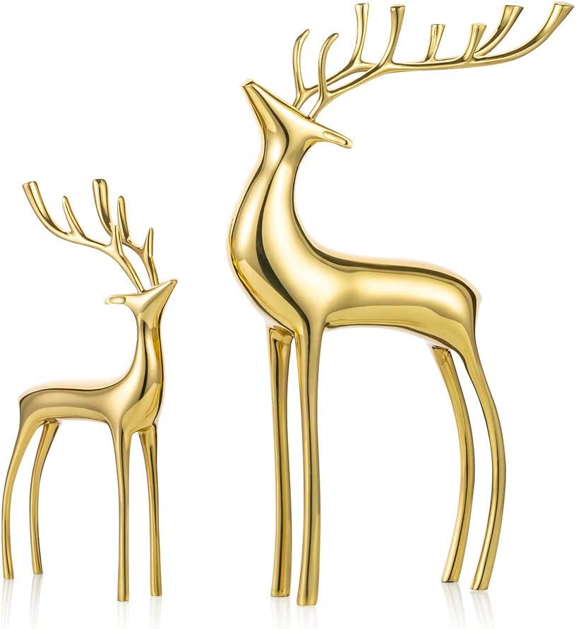 Sziqiqi Reindeer Figurine Statues Deluxe Set of 2, Christmas Deer Pure Copper Heavy Reindeer Ornaments for Home Decor Accents Living Room Office Bookself Tabletop Mantle Christmas Decoration, Gold