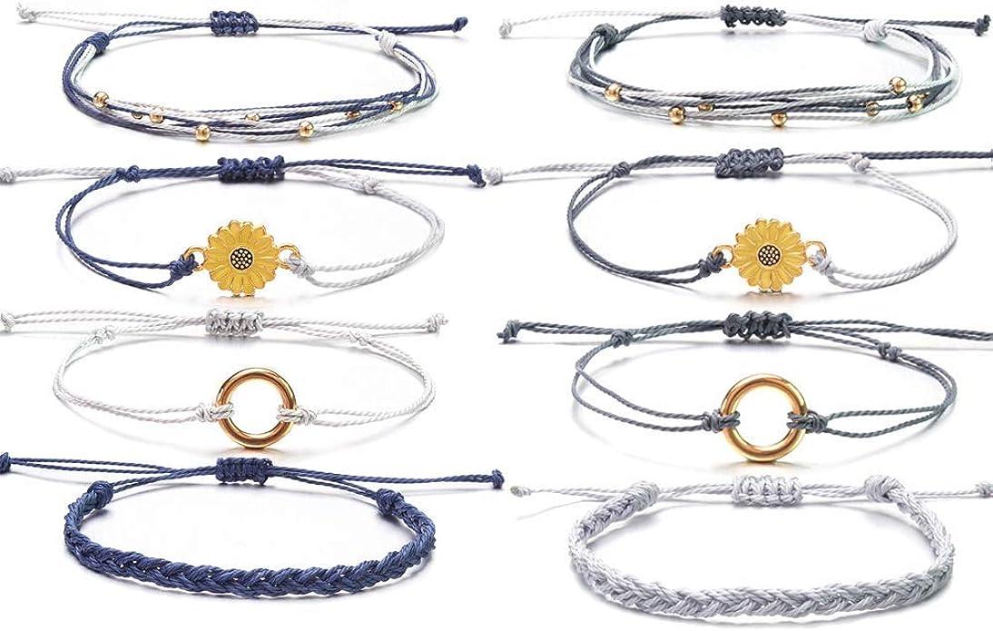Surfer Bracelet Waterproof Braided Bracelets Wave Adjustable Handmade Strand String Friendship Boho Rope Sunflower Bracelet for Women Men Teen Girls