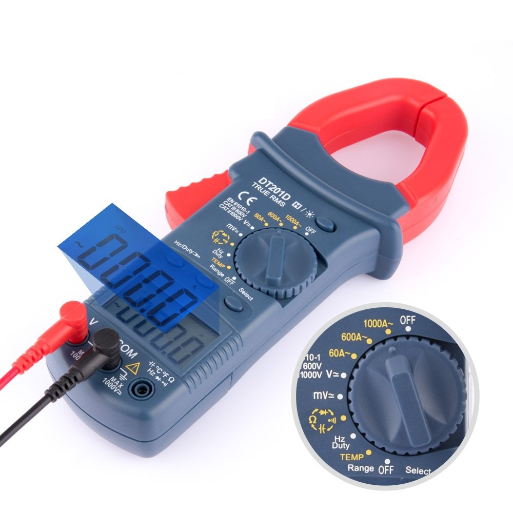 AUSHEN Digital Clamp Meter Multimeters AC/DC Current 6000 Counts Multimeter Volt Amp Meter with Manual and Auto Ranging