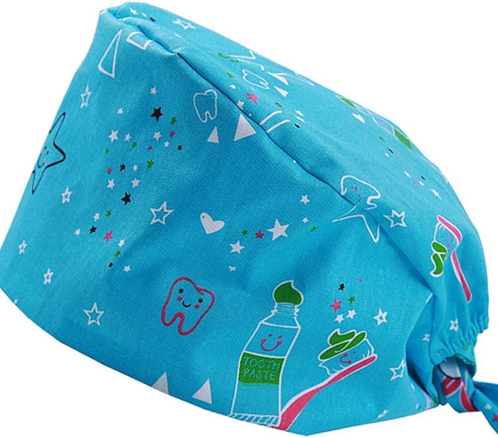 KESYOO Bouffant Scrub Cap Cotton Surgeon Cap Doctor Nurse Scrub Hat Absorbing Sweatband Adjustable Working Hat
