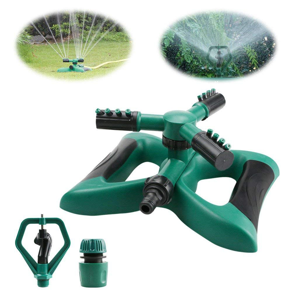 Automatic 360/° Rotating Garden Sprinkler for Large Area of Coverage crayfomo Lawn Sprinkler Water Sprinklers with Leak Free Design Durable 3 Arm Sprayer Adjustable Nozzle