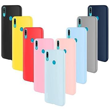 ivencase 9 × Funda Huawei P Smart Z, Carcasa Fina TPU Flexible Cover para Huawei P Smart Z (Rosa Gris Rosa Claro Amarillo Rojo Azul Oscuro Translúcido ...