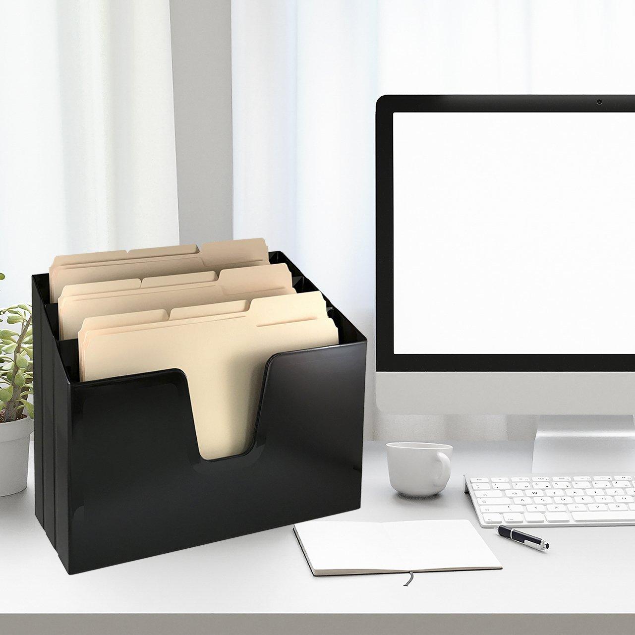 Acrimet Horizontal Triple File Folder Organizer (Folders Included) (Black Color)