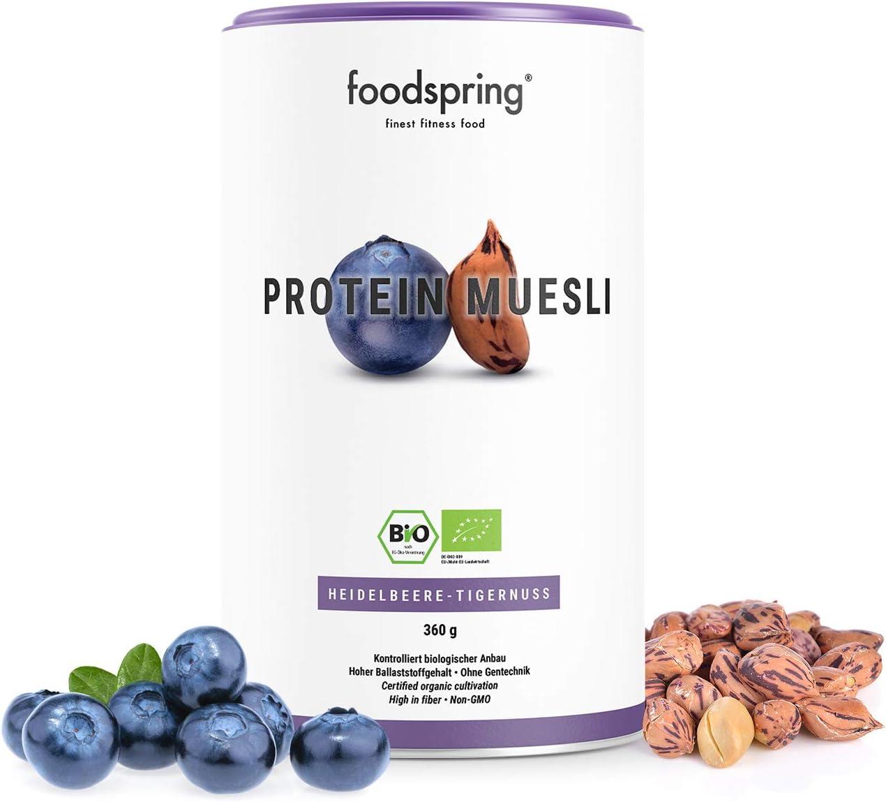 foodspring Muesli Proteico, 360g, Arándanos y chufas ...