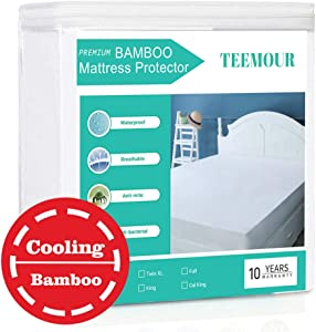 "Queen Size Premium Bamboo Mattress Protector Cooling Mattress ProtectorHypoallergenic WaterproofMattress Protector Pad Mattress Cover Cotton Terry Surface Noiseless --Fitted 8""-21"" Deep Pocket"