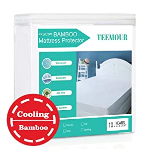 "King Size Bamboo Mattress Protector Cooling Hypoallergenic Waterproof Mattress Protector Pad Cover Cooling Mattress Protector --Fitted 8""-21"" Deep Pocket"