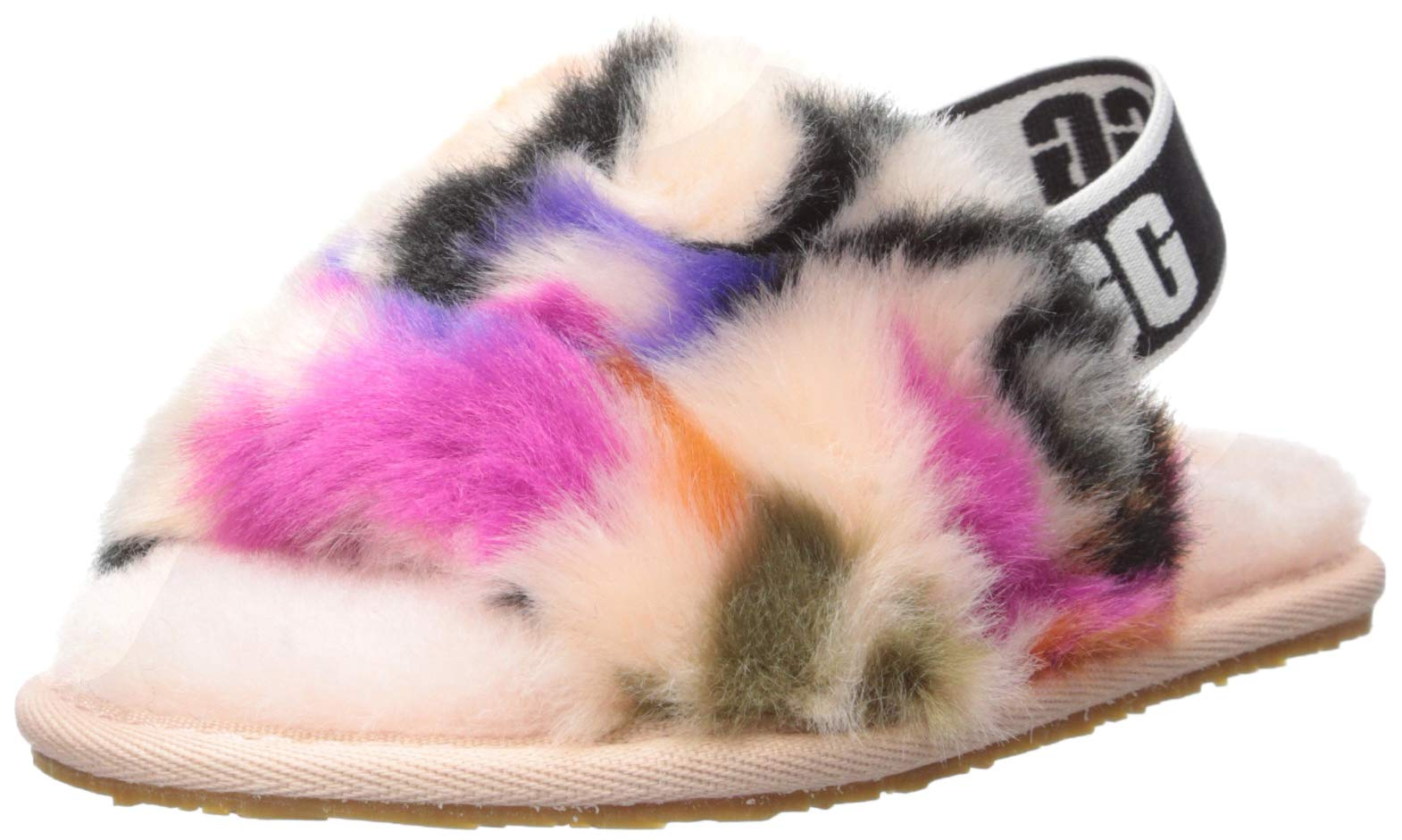 UGG Girls' Fluff Yeah Slide MOTLEE Flat Sandal, Multi, 6 M US Toddler by UGG