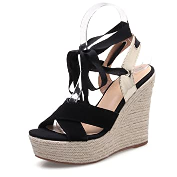 20edb3f749 Image Unavailable. Image not available for. Color: Sandals Strap Wedge  Retro Sexy Waterproof Platform Peep-toe High Heels Comfortable ...