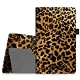 Fintie Folio Case for All-New Amazon Fire HD 8 (6th Generation, 2016 release), Slim Fit Premium Vegan Leather Standing Cover Auto Wake/Sleep for Fire HD 8 Tablet (2016 6th Gen Only), Leopard Brown