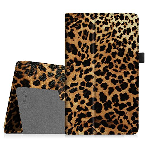 Fintie Folio Case for Amazon Fire HD 8 (2016 6th Generation), Slim Fit Premium Vegan Leather Standing Cover Auto Wake/Sleep for Fire HD 8 Tablet (2016 6th Gen Only), Leopard Brown (Kindle Fire 6 Wireless Keyboard)