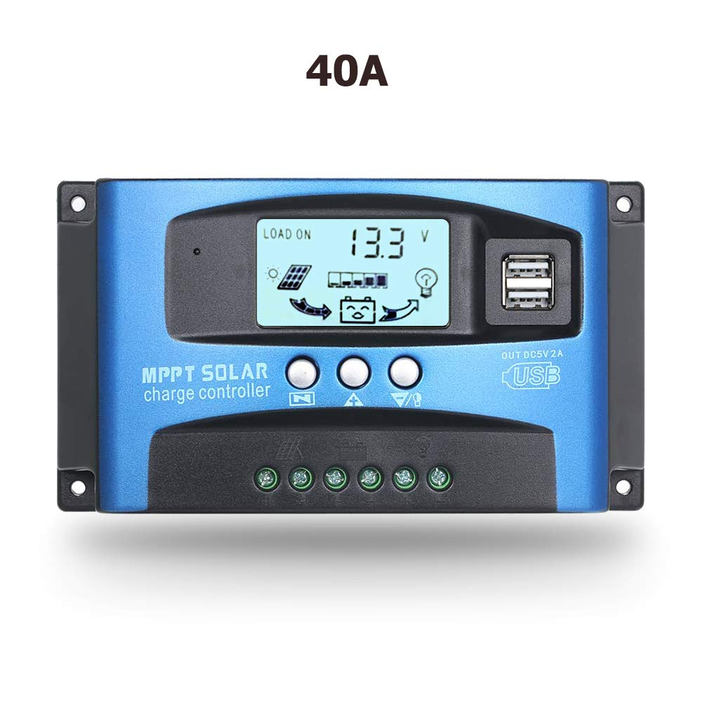 SolaMr 40A Controlador de Carga Solar 12V/24V Regulador Inteligente de Carga de Batería del Panel Solar con Pantalla LCD y Puerto USB Doble - 40A
