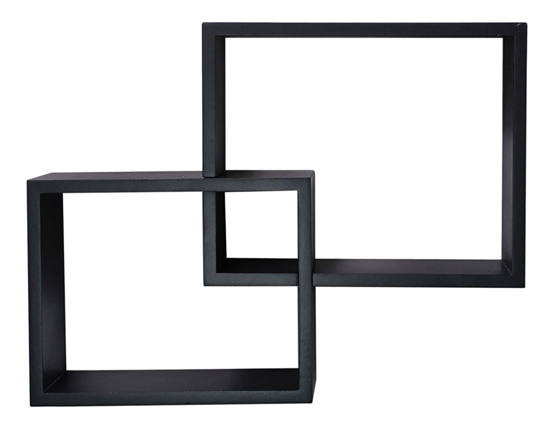 nexxt Link Overlapping Wall Shelves Black, Set of 2 AZ Home & Gifts FN00297-6