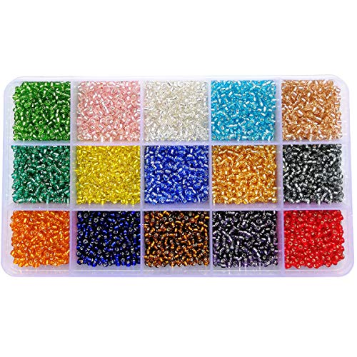 BALABEAD 8/0 Transparent Silver Lined Seed Beads 7500pcs in Box 15 Multicolor Assortment 3mm Glass Seed Beads, Hole 1mm ()