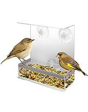 Reefa Mangeoir à Oiseaux Perruches Sauvages du Ciel Exterieur Jardin Fenêtre Avec Ventouse en Arcrylique-Distributeur Pour Oiseaux