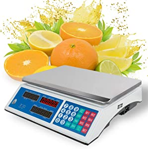 Electronic LCD Scales Commercial 30KG/5g. Digital Weight 66 lbs Scale Price Computing Counting Heavy Duty Steel, Food Price, Department Store, Deli Market Shop