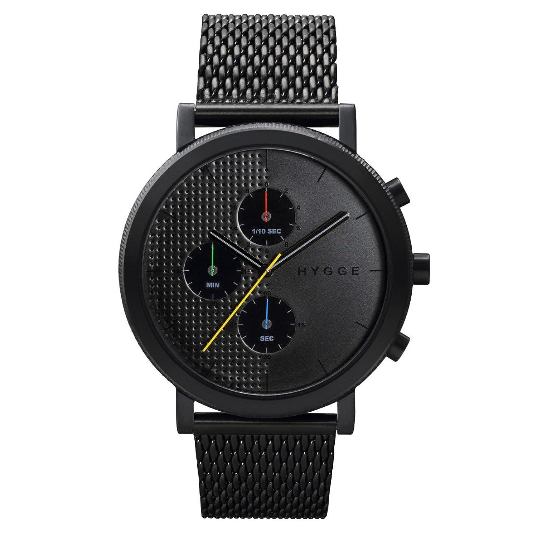 Hygge 2204 Unisex Quarzuhr mit schwarzem Zifferblatt Chronograph-Anzeige und schwarz Edelstahl vergoldet Armband