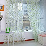 PanDaDa Floral Scarfs Sheer Voile Door Window Curtain Drapes Panel Valances Green